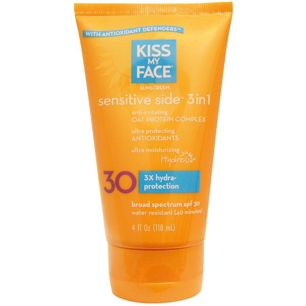Kiss My Face, Sensitive Side 3 合 1 防晒霜,SPF 30,4 液量盎司(118 毫升)