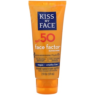 Kiss My Face, Face Factor 防晒霜,50 SPF,2 液体盎司(59 毫升)