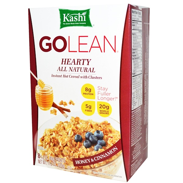 Kashi, GoLean, Hearty All Natural, Instant Hot Cereal with Clusters, Honey & Cinnamon, 8 Packets, 1.41 oz (40 g) Each (Discontinued Item)