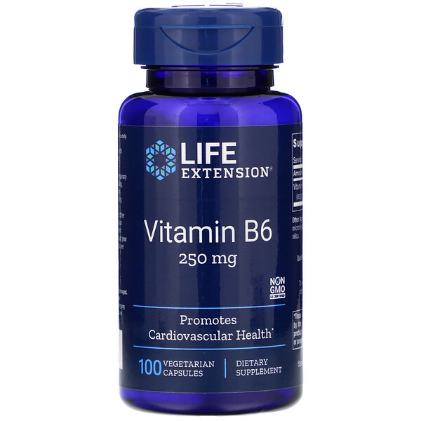 Vitamin B6, 250 mg, 100 Vegetarian Capsules