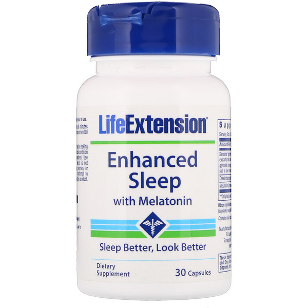 Life Extension, Enhanced Sleep with Melatonin, 30 Capsules
