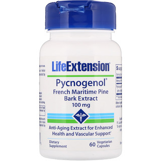 Life Extension, Pycnogenol, French Maritime Pine Bark Extract, 100 mg, 60 Vegetarian Capsules