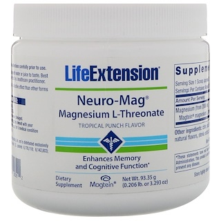 Life Extension, Neuro-Mag, Magnesium L-Threonate, Tropical Punch Flavor, 0.206 lb (93.35 g)
