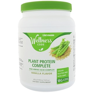 Life Extension, Wellness Code, Plant Protein, Complete and Amino Acid Complex, Vanilla Flavor, 15.87 oz (450 g)