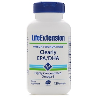 Life Extension, Clearly EPA/DHA,120粒软胶囊