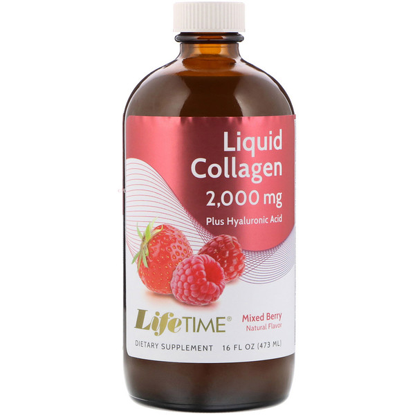 LifeTime Vitamins, Liquid Collagen with Hyaluronic Acid & Vitamin D3, Mixed Berry Flavor, 2,000 mg, 16 fl oz (473 ml) (Discontinued Item)
