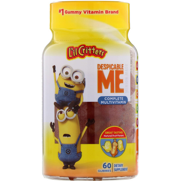 L'il Critters, Despicable Me 完全综合维生素,天然水果口味,60 颗软糖 (Discontinued Item)