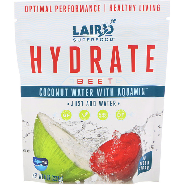 Laird Superfood, Hydrate, Beet, Coconut Water with Aquamin, 8 oz (227 g)