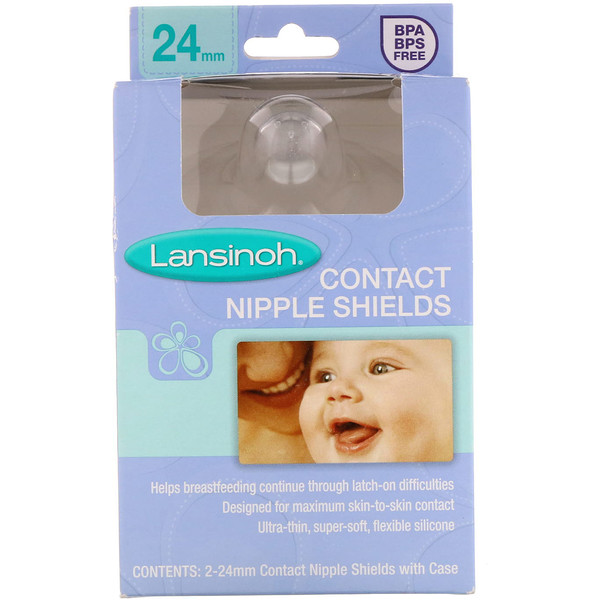 Lansinoh, Contact Nipple Shields with Case, 24 mm, 2 Pack