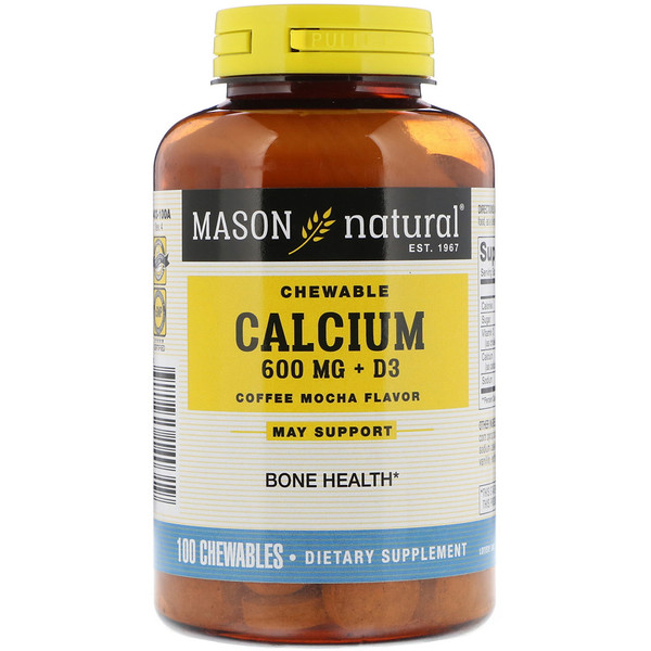 Mason Natural, Calcium + D3, Chewable, Coffee Mocha Flavor, 600 mg, 100 Chewables