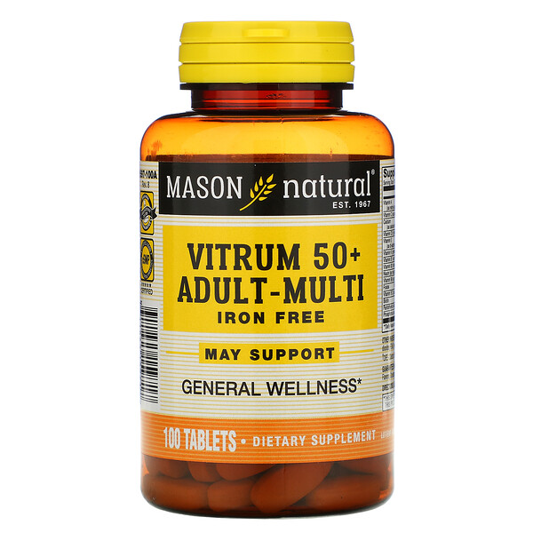 Vitrum 50+ Adult-Multi, Iron Free, 100 Tablets