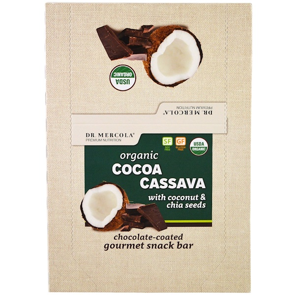 Dr. Mercola, Organic Cocoa Cassava with Coconut & Chia Seeds, 12 Bars, 1.55 oz (44 g) Each (Discontinued Item)