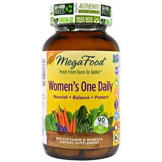 MegaFood, Women's One Daily,全食多种维生素和矿物质,90片
