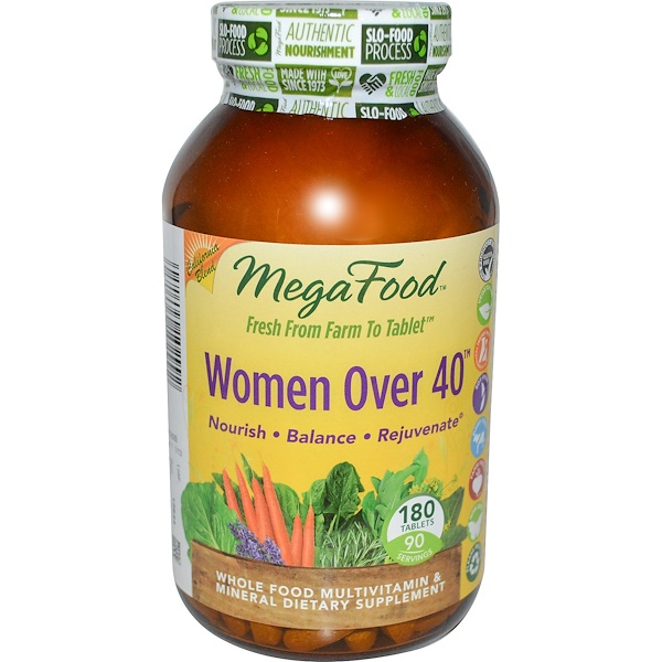 MegaFood, Women Over 40, Whole Food Multivitamin & Mineral, 180 Tablets (Discontinued Item)