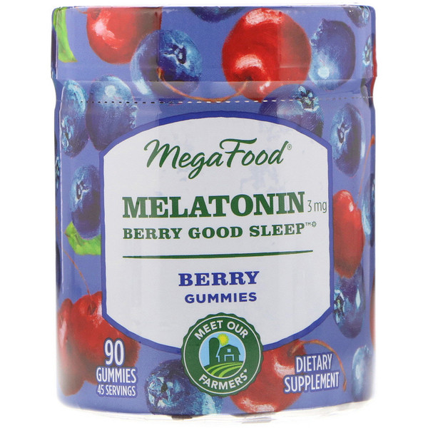 MegaFood, Melatonin, Berry Good Sleep, Berry, 3 mg , 90 Gummies