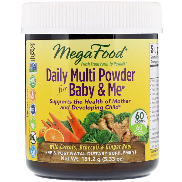 MegaFood, Daily Multi Powder for Baby & Me 复合营养粉剂,5.33盎司(151.2克)