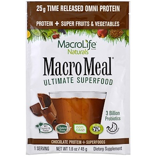 Macrolife Naturals, MacroMeal, Chocolate Protein + Superfoods, 1.6 oz (45 g)