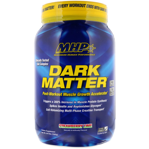 Maximum Human Performance, LLC, Dark Matter, Post-Workout Muscle Growth Accelerator, Strawberry Lime , 3.44 lbs (1560 g)