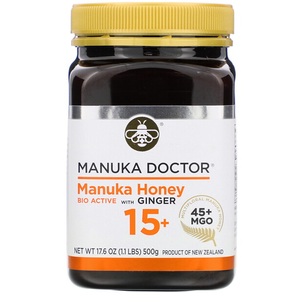 Manuka Doctor, Manuka Honey Multifloral with Ginger, MGO 45+, 1.1 lbs (500 g)