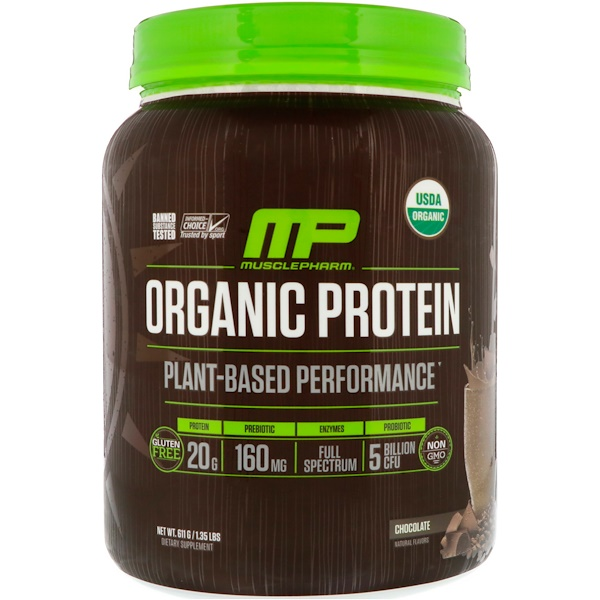 MusclePharm Natural, 有机蛋白质,植物基,巧克力口味,1.35 磅(611 克) (Discontinued Item)