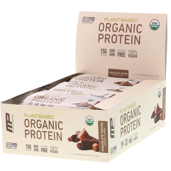 MusclePharm, Natural Series, Plant-Based Organic Protein Bar, Chocolate Toffee, 12 Bars, 1.76 oz (50 g) Each