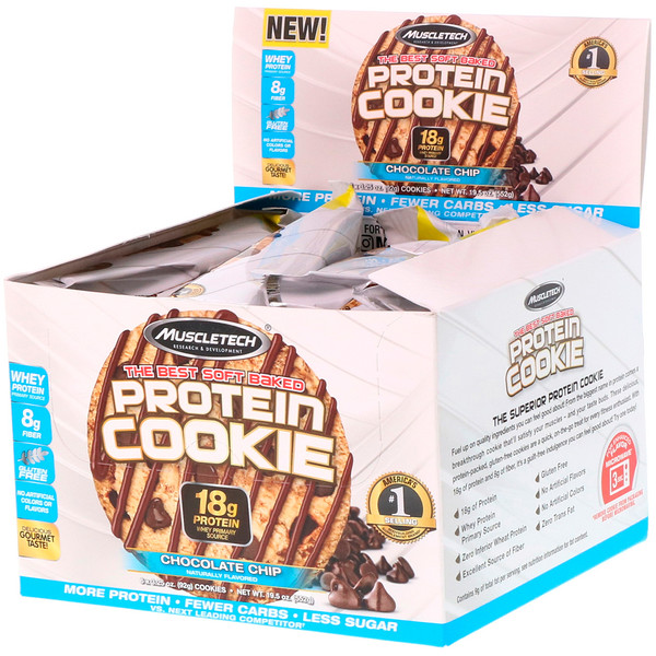 Muscletech, The Best Soft Baked Protein Cookie, Chocolate Chip, 6 Cookies, 3.25 oz (92 g) Each