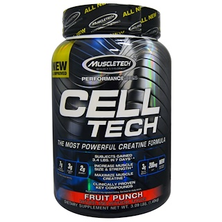 Muscletech, Cell Tech,最强大的肌酸配方,水果混合饮料, 3.09 lbs (1.40 kg)