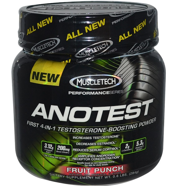 Muscletech, Anotest, Testosterone-Boosting Powder, Fruit Punch, 0.6 lbs (284 g) (Discontinued Item)