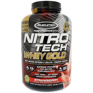 Muscletech, Nitro Tech 100%金装乳清,草莓,5.53磅(2.51公斤)