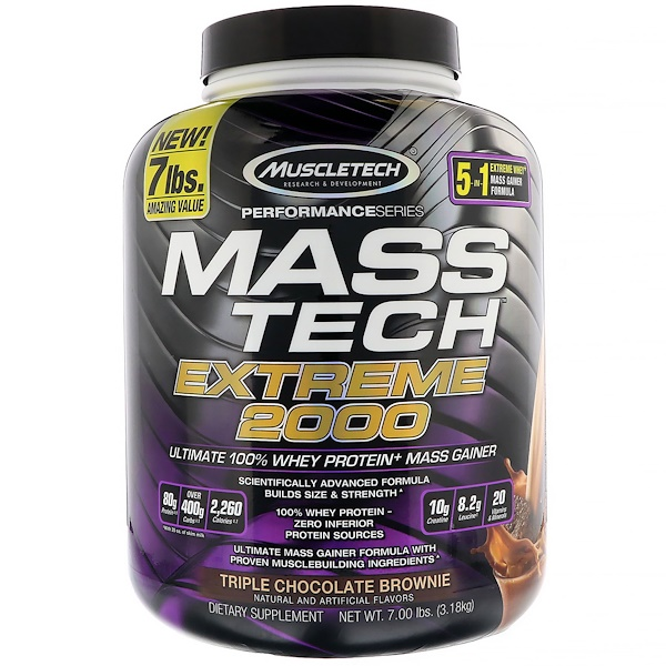 Muscletech, Mass Tech Extreme 2000,三重巧克力蛋糕,7.00磅(3.18千克)