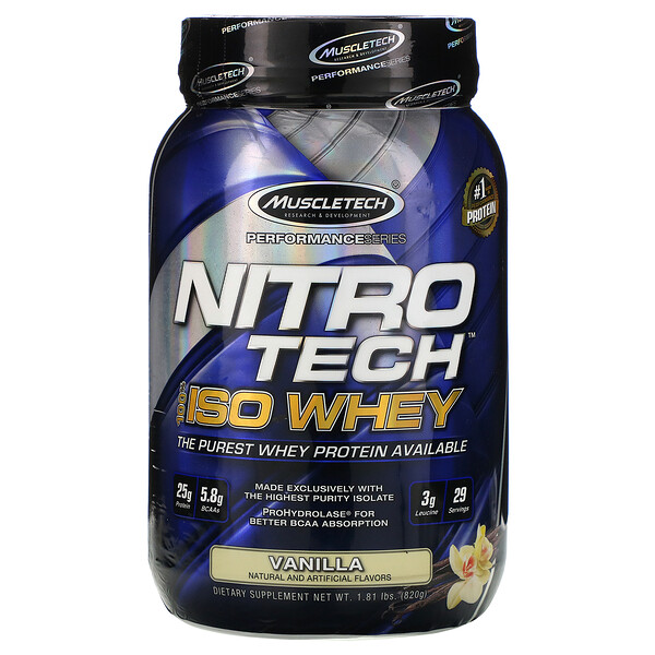 Muscletech, Nitro-Tech®,全分离乳清,香草味,1.81 磅(820 克)