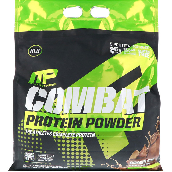 MusclePharm, 战斗蛋白粉,巧克力牛奶味,8 磅(3629 克)