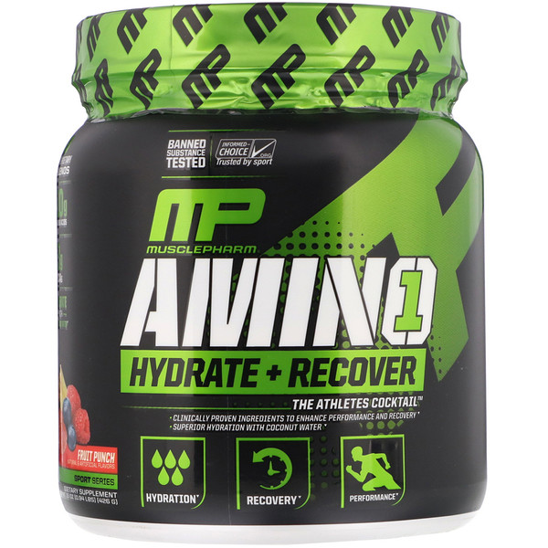 Amino 1, Hydrate + Recover, Fruit Punch, 0.15 oz (426 g)