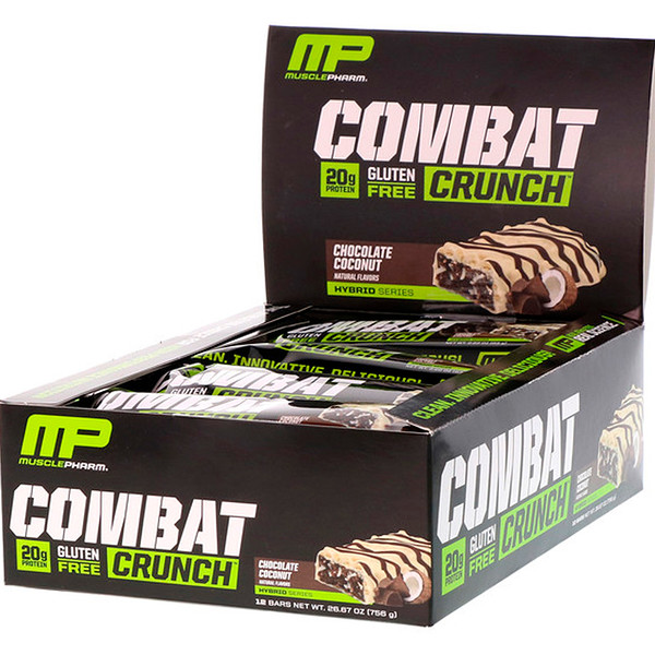 MusclePharm, Combat Crunch,巧克力椰子,12条营养棒, (63 g) 每条 (Discontinued Item)