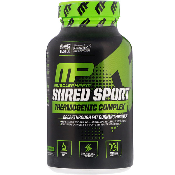 MusclePharm, Shred Sport,发热瘦身胶囊,60粒