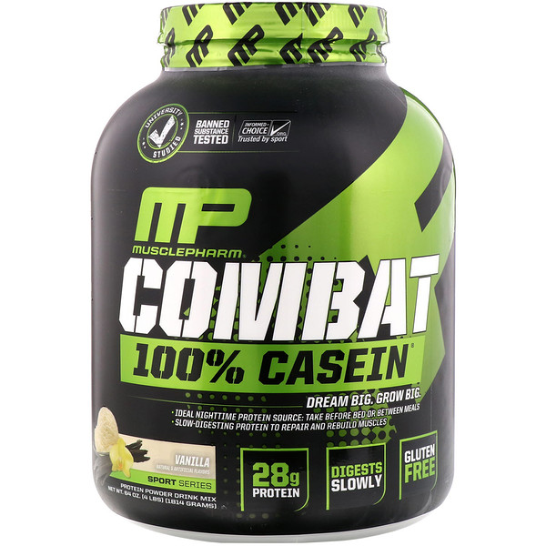 MusclePharm, Combat 100%酪蛋白,香草味, 64 oz (1814 g)