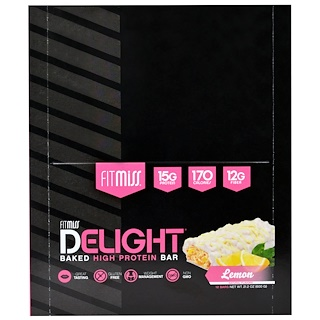 FitMiss, Fit Miss Delight, Baked Protein Bar, Lemon, 12 Bars Net Wt 21.2 oz (600 g)