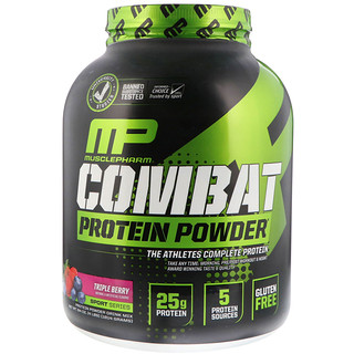 MusclePharm, Combat Protein Powder, Triple Berry, 4 lbs (1814 g)