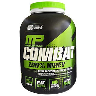 MusclePharm, 战斗,100%的乳清,香草,5磅(2269克)