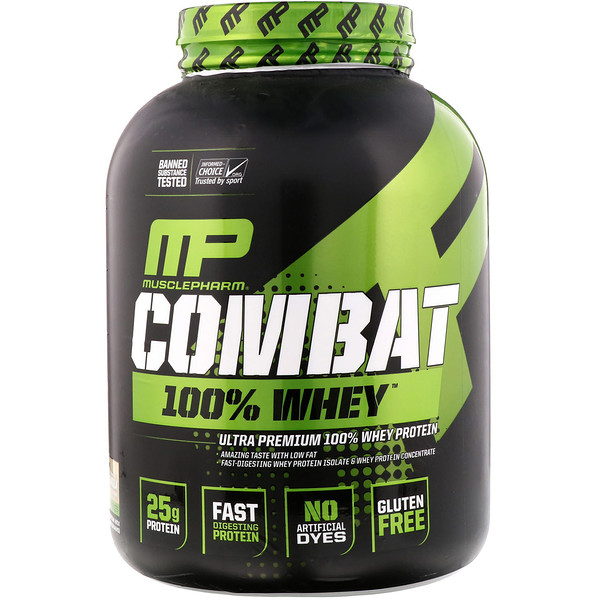 MusclePharm, 战斗全的乳清,香草,5磅(2269克)