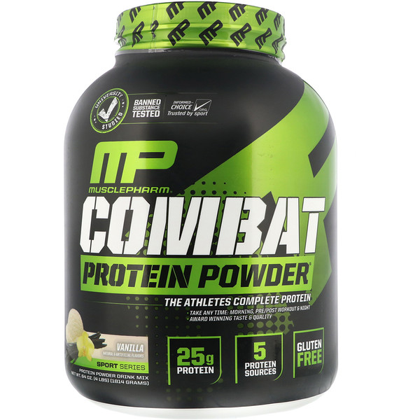MusclePharm, 战斗蛋白粉,香草,4磅(1814克)