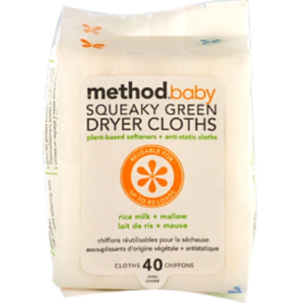 Method, 宝宝, Squeaky Green, Dryer Cloths, Rice Milk + Mallow, 40 Cloths (Discontinued Item)