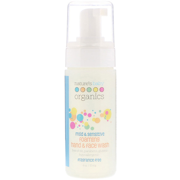 Nature's Baby Organics, Mild & Sensitive, Foaming Hand & Face Wash, Fragrance Free, 4 oz (113.4 g) (Discontinued Item)