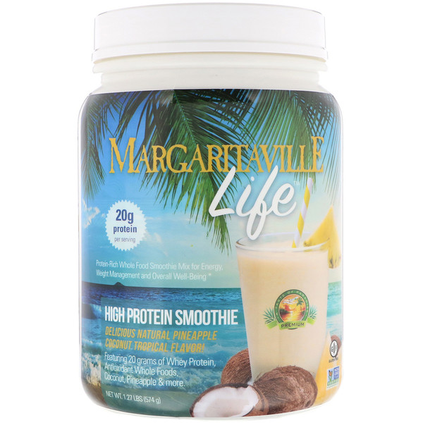 Nature's Plus, Margaritaville Life,高蛋白冰沙,天然菠萝椰子热带风味,1.27磅(574克) (Discontinued Item)