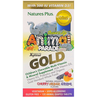 Nature's Plus, Source of Life Animal Parade Gold, Children's Chewable Multi-Vitamin & Mineral Supplement, Natural Assorted Flavors, 120 Animal-Shaped Tablets