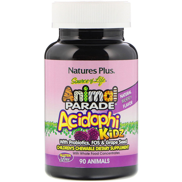 Source of Life Animal Parade, AcidophiKidz, Children's Chewable, Natural Berry, 90 Animal-Shaped Tablets
