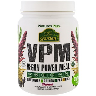 Nature's Plus, Source of Life Garden VPM能量素食餐,无调味,1.42磅(645克)