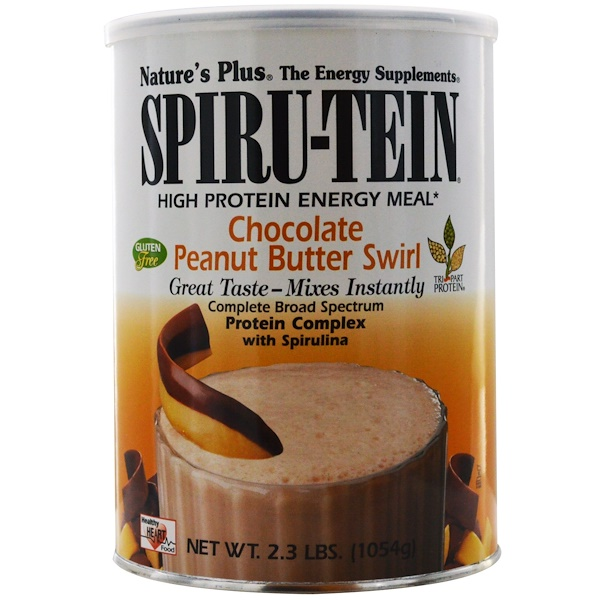 Nature's Plus, Spiru-Tein, High Protein Energy Meal, Chocolate Peanut Butter Swirl, 2.3 lbs. (1054 g) (Discontinued Item)