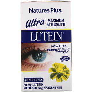 Nature's Plus, Ultra Lutein,最大强度,20毫克,60粒
