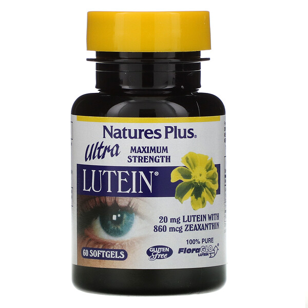 Nature's Plus, Ultra Lutein,极大强度,20毫克,60粒